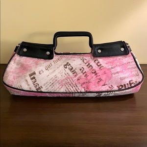 Donald Pliner Couture Pink Pony Hair Newsprint Bag